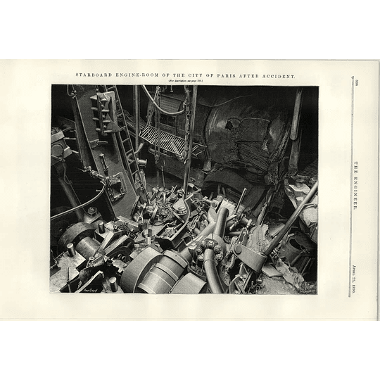 1890 City Of Paris Steamer Starboard Engine Room After Accident