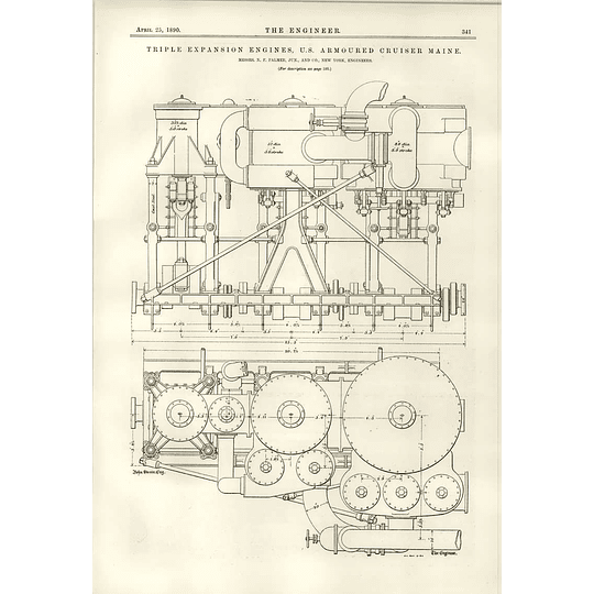 1890 Us Armoured Cruiser Maine Triple Expansion Engines Palmer New York