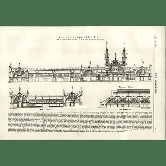 1890 The Edinburgh Exhibition Elevations Locomotive Annexe