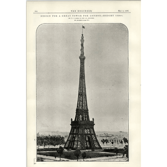 1890 London Tower Contest Tc Clarke Proposal
