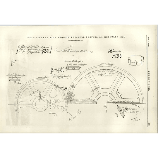 1890 Ss Hercules 1829 Gear Between High And Low Pressure Engines