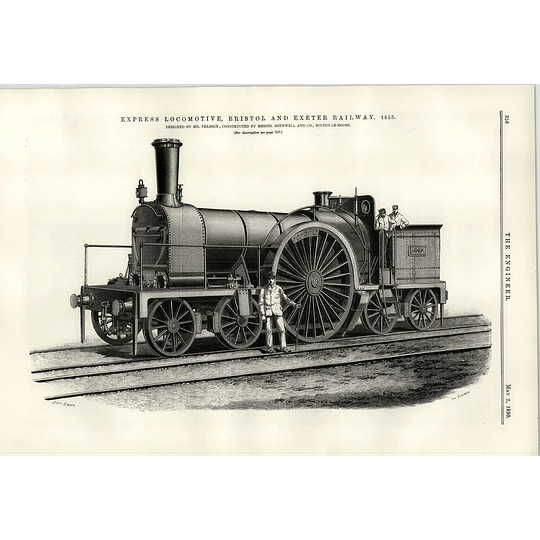 1890 Bristol And Exeter Railway 1853 Express Locomotive Pearson