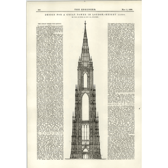 1890 Great Tower For London Design For Competition Max Am Ende