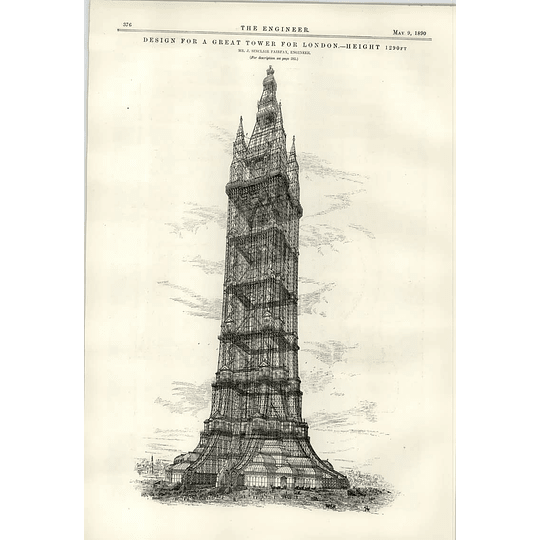 1890 Great Tower For London J Sinclair Fairfax Competition Proposal