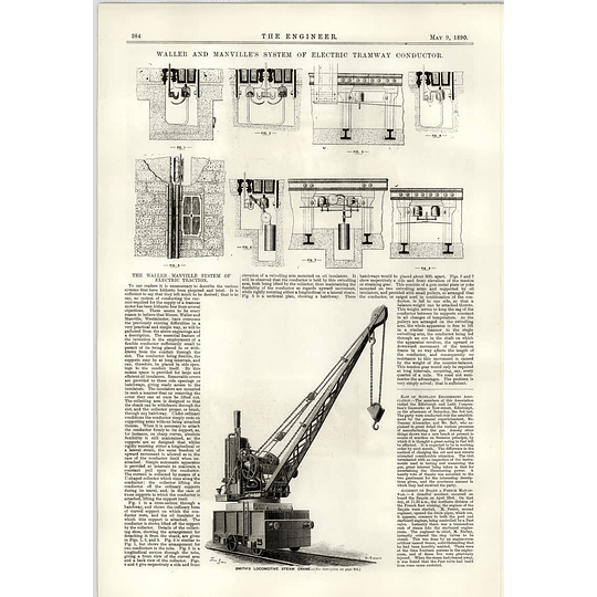 1890 Waller Mandeville Electric Tramway Conductor Smith Locomotive Steam Crane