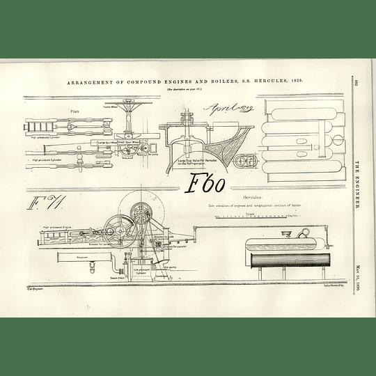 1890 Ss Hercules 1829 Engine Arrangement Low-pressure Cylinder Air Pump
