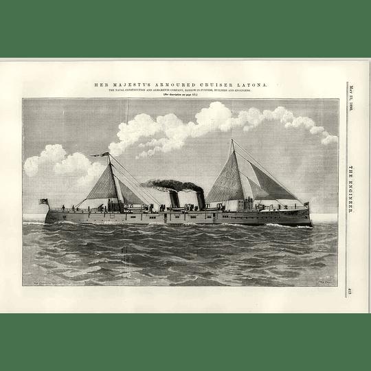 1890 Hm Armoured Cruiser Latona Barrow In Furness Ss Tartar Boiler Hartlepool