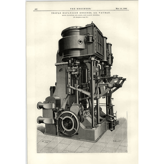 1890 Ss Vauban Triple Expansion Engines Blackwood Gordon Port Glasgow
