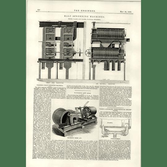 1890 Malt Screening Machines Nalder Wantage Waygood Power Lift W Wood Valve