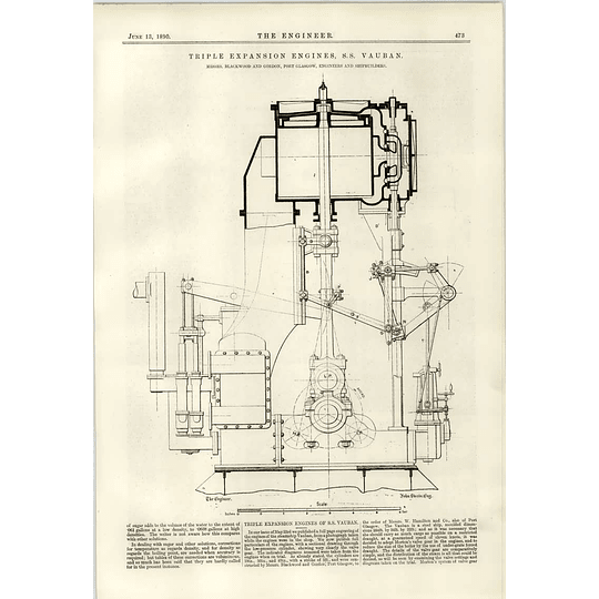 1890 Triple Expansion Engines Ss Vauban Detailed Drawing