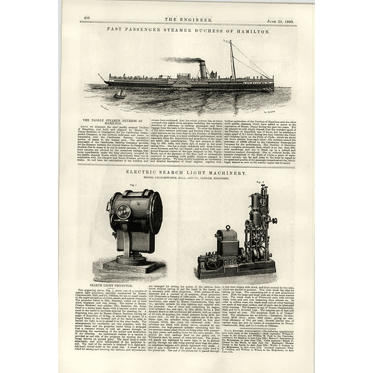 1890 Electric Searchlight Machinery Paddle Steamer Duchess Of Hamilton