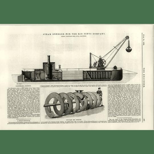 1890 Steam Dredger For The Rio Tinto Company Priestman 54 Inch Conveyor