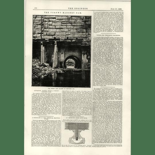 1890 Vyrnwy Masonry Dam Liverpool Watersupply Doorlock Knob