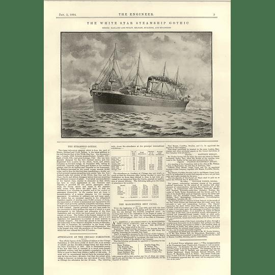 1894 White Star Steamship Gothic Rhode Island Locomotive Heavy Compound Passenger