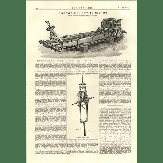1894 Electric Coal Cutting Machine Davies Derby Cold Drill