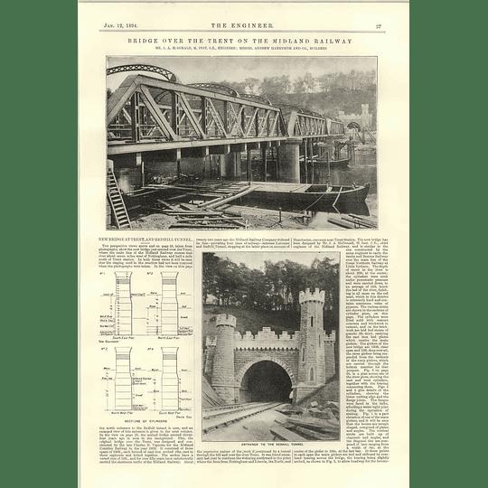 1894 Bridge Over River Trent On Midland Railway Redhill Tunnel