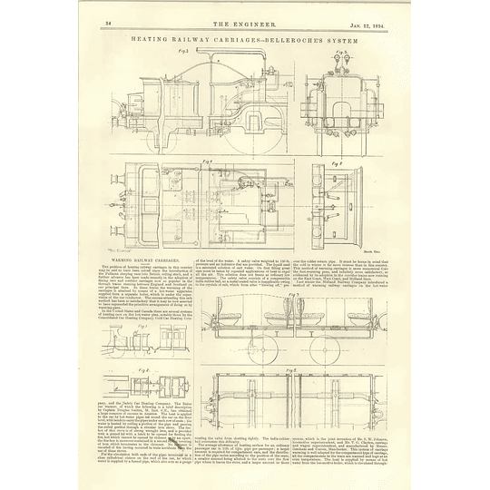 1894 Heating Railway Carriages Belleroche System