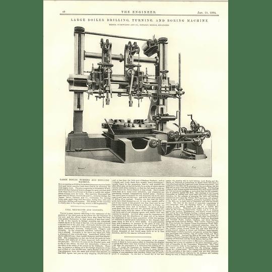 1894 Large Boiler Drilling Turning And Boring Machine Rushworth Sowerby Bridge