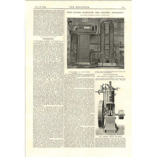 1894 Purification Of Feedwater Heater Condenser Company Campbell Vertical Gas Engine