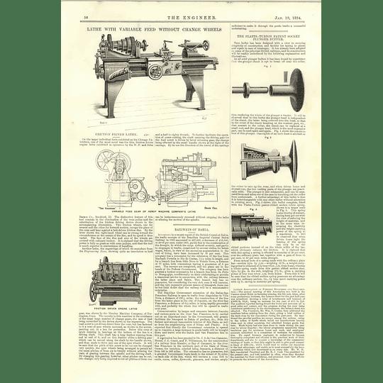 1894 Friction Driven Lathe Platts-turton Patented Socket Plunger Buffer