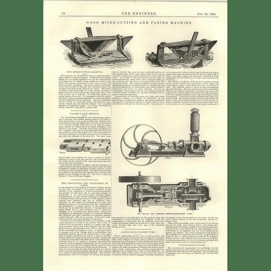 1894 Wood Mitre Cutting And Paring Machine Baillet Audemar Continuous Current Pump