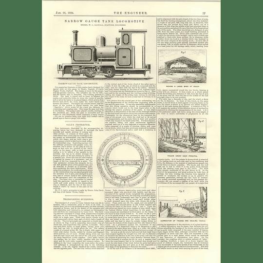 1894 Narrow Gauge Tank Locomotive Renown Ogles Protractor Transporting Buildings