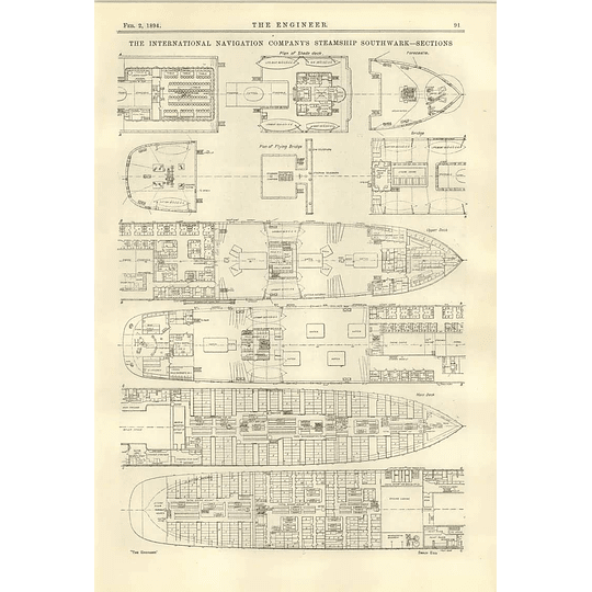 1894 Twin Screw Steamer Southwark Sections Plans