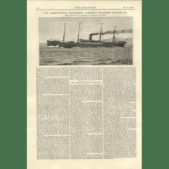 1894 Twin Screw Steamer Southwark Denny Dumbarton