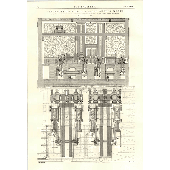 1894 Brussels Electric Light Supply Works Diagrams Plans