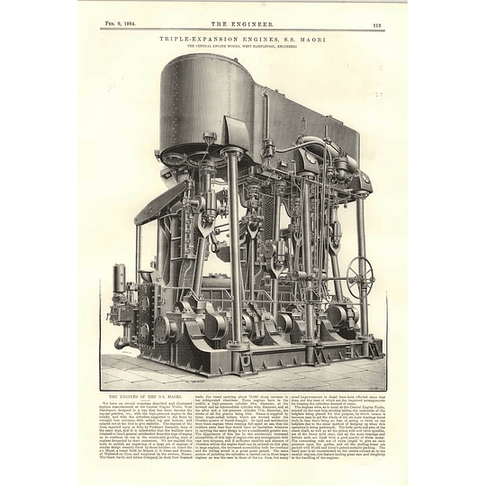 1894 Triple Expansion Engines Ss Maori Central Engine Works West Hartlepool