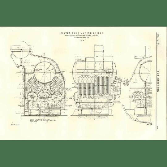 1894 Water Tube Marine Boiler Fleming Ferguson Cross-section Plan