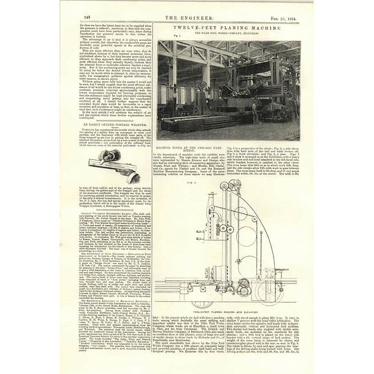 1894 12 Feet Planing Machine Niles Tool Works Ogle Easy Open Postage Wrapper