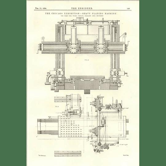 1894 Heavy Planing Machine Niles Tool Works 6 Feet Boring Turning Machine