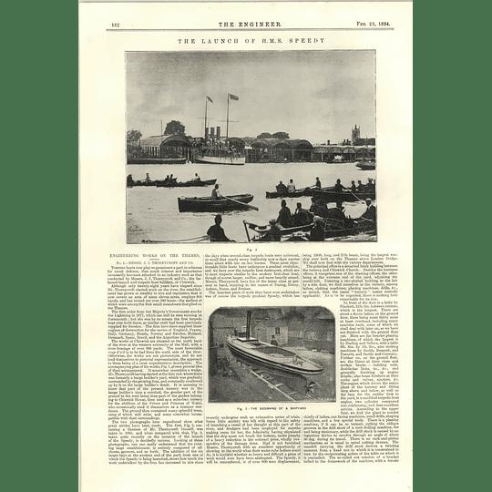 1894 Launch Of Hms Speedy Thorneycroft