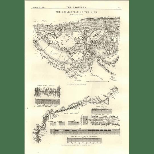 1894 Light Station Of River Nile Proposed Dam Plans