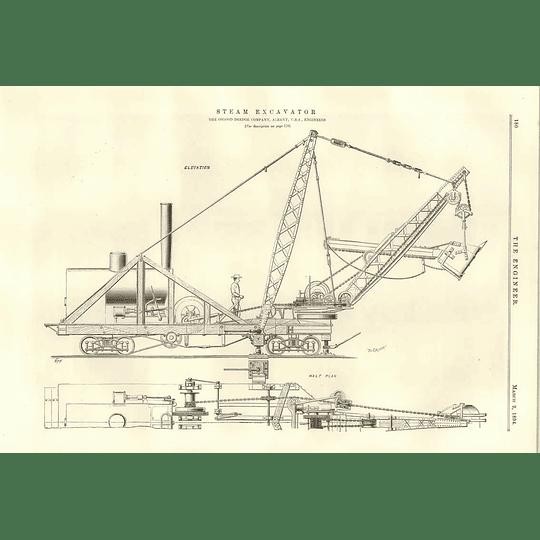 1894 Powerful Steam Excavator Osgood Dredge Albany