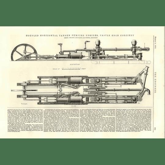 1894 Tandem Pumping Engines Castle Eden Colliery Kalabsha Gate Proposed Dam River Nile