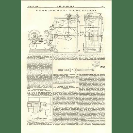 1894 Marsdens Combined Stonebreaker Elevator Screen