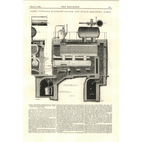 1894 Say Sugar Refinery Paris Systematic Production Of Steam From 68 Boilers