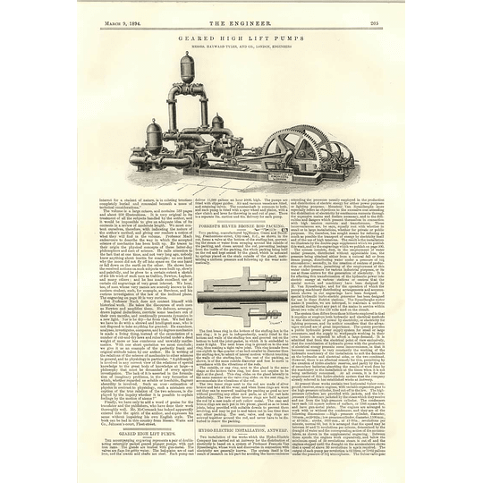 1894 Geared Highlift Pumps Hydroelectric Installations Antwerp