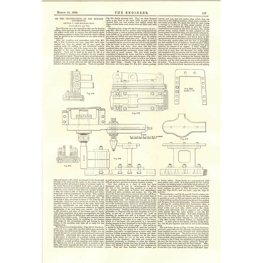 1894 Machine Shop Plans For Construction Of Modern Locomotive