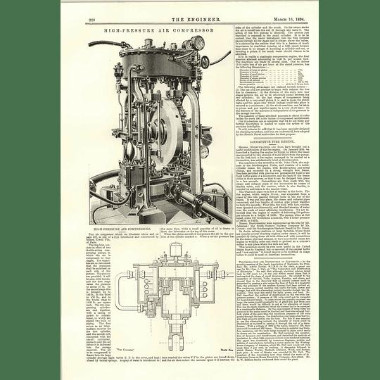 1894 High-pressure Air Compressors Elwell Fils Paris