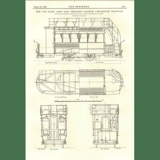 1894 2-horse 40 Seat Tram Cars For Glasgow Corporation Built Shrewsbury