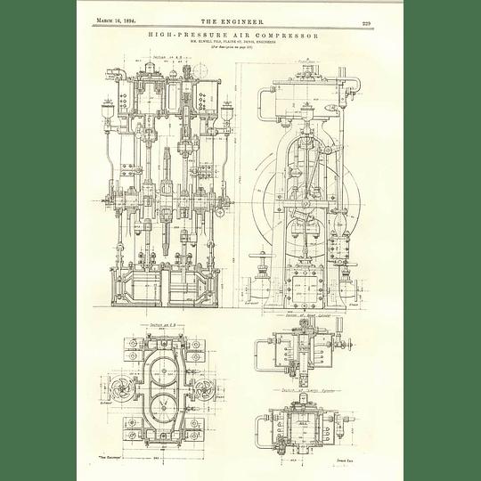 1894 High-pressure Air Compressor Elwell Fils Plaine St-denis