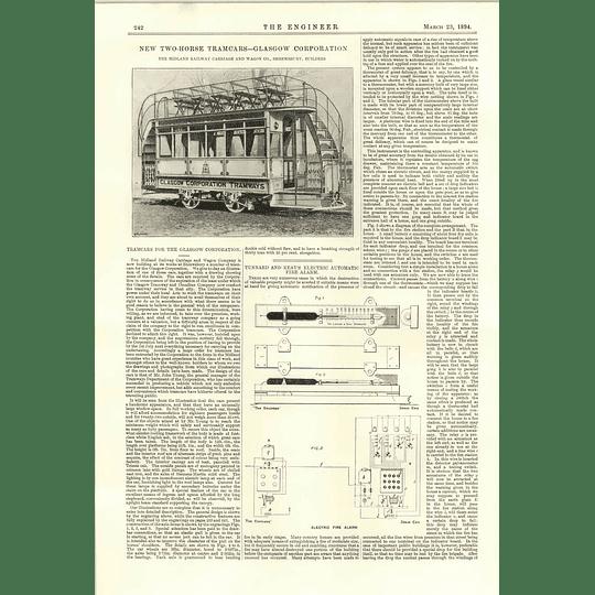 1894 Glasgow Corporation Tramways Tunnard Keay Electric Automatic Fire Alarm
