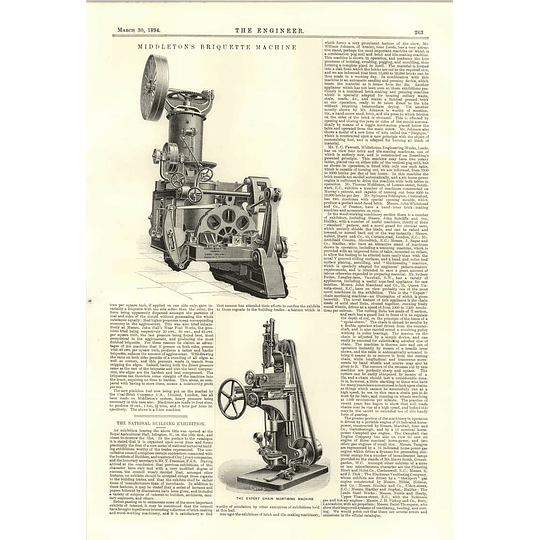 1894 Robert Middleton Briquette Machine Expert Chain Morticing