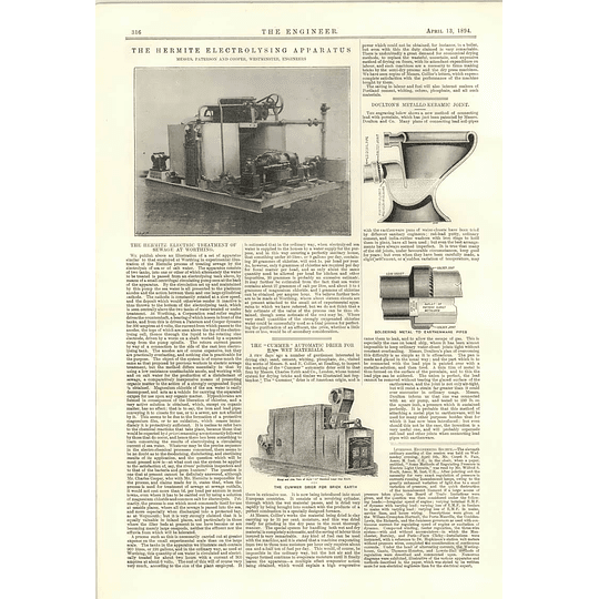 1894 Hermite Electric Treatment Of Sewage Worthing Cummer Brick Earth Metal Ceramic Joint