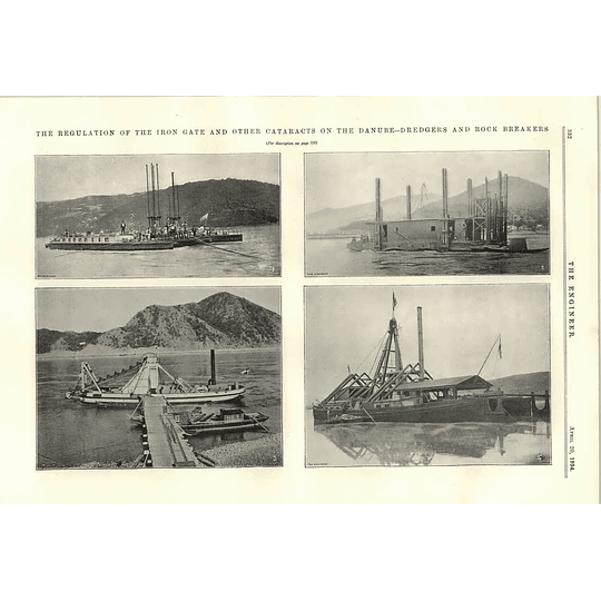 1894 Dredgers And Rock Breakers Danube Irongate Cataracts