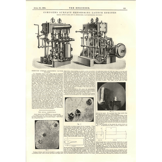 1894 Compound Surface Condensing Launch Engines Edwin Clark Bringscombe