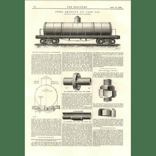 1894 Steel American Oil Tank Car Harvey Cornwall Lock Nut
